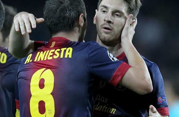 Andreas Iniesta et Messi (FC Barcelone)