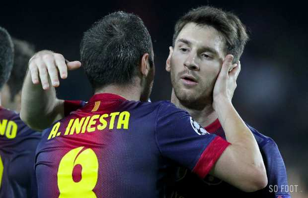 Andres Iniesta et Lionel Messi (FC Barcelone)