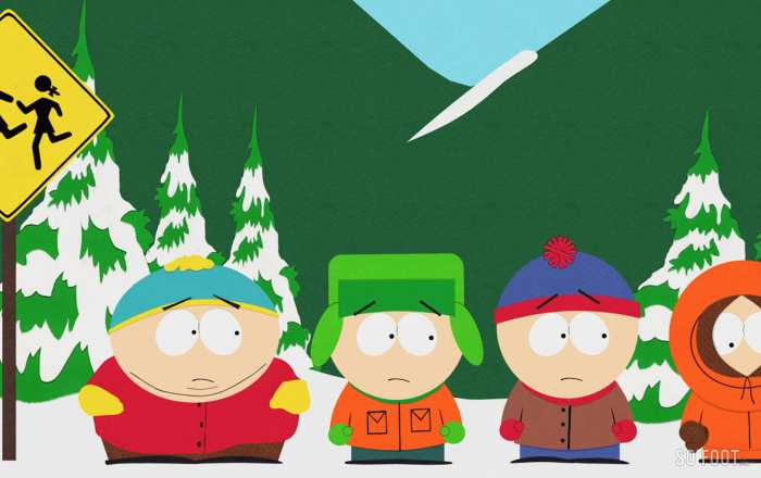 Cartman, Kyle, Stan, et Kenny avant l'accident