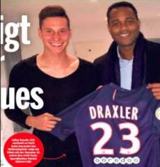 Draxler avec le maillot du PSG en Une de Bild