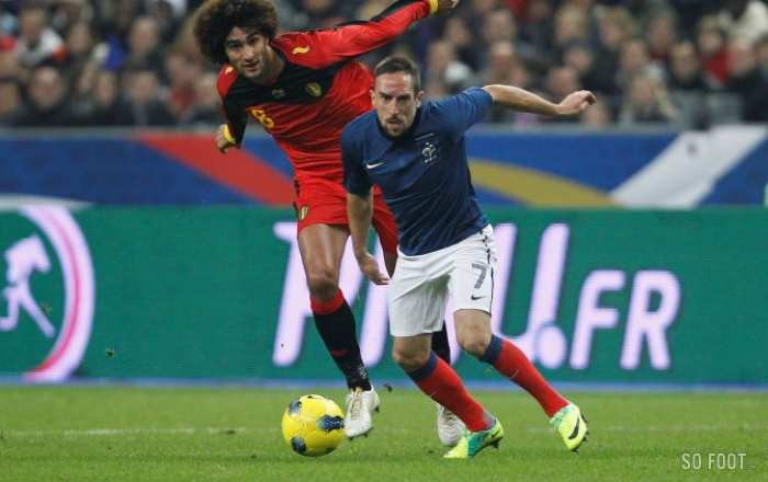 Franck Ribery (France) contre Marouane Fellaini (Belgique)