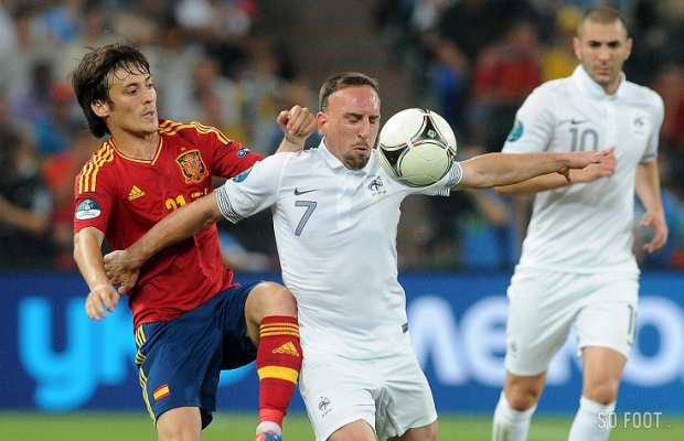 Franck Rib�ry (France) face � David Silva (Espagne)