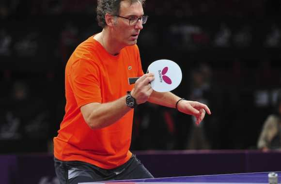 Laurent Blanc aux championnats du monde de tennis de table