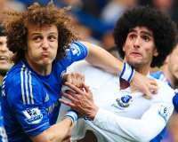 David Luiz (Chelsea) et Marouane Fellaini (Everton)