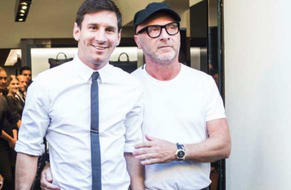 Leo Messi, en promo-shopping, avec Domenico Dolce