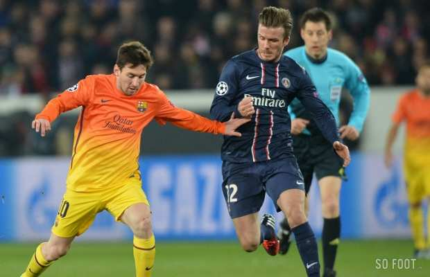 Lionel Messi (Bar�a) poursuivi par David Beckham (PSG)