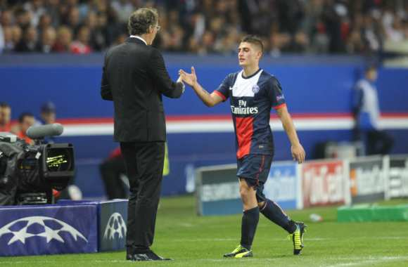 Marco Verratti et son coach Laurent Blanc (PSG)