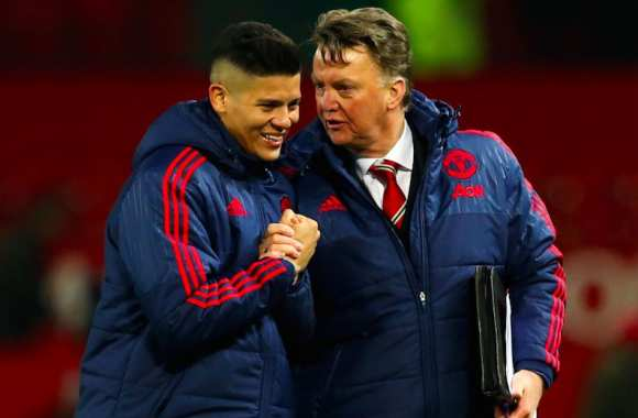 Marcos Rojo and Louis van Gaal