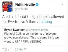 Phil Neville accuse Collina d'avoir faussé un match d'Everton