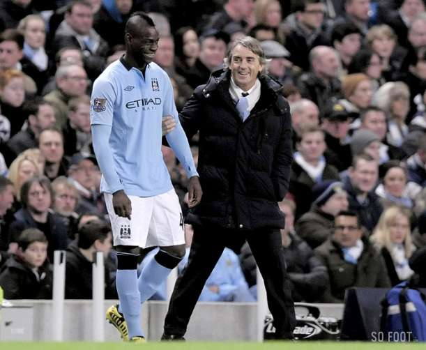 Picture: Mario Balotelli & Roberto Mancini are all smiles during Man City 3   Watford 0