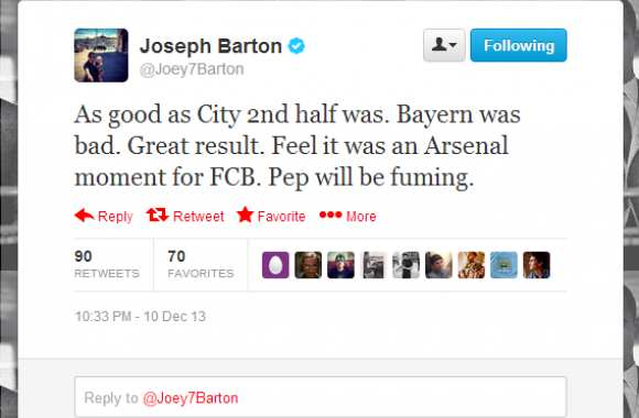 Photo : Barton et le « moment Arsenal »