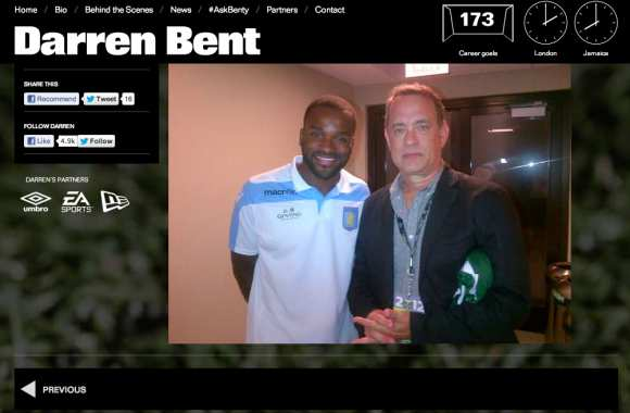 Photo : Darren Bent & Tom Hanks