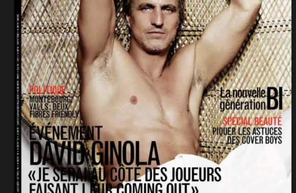 Photo : David Ginola dans Têtu