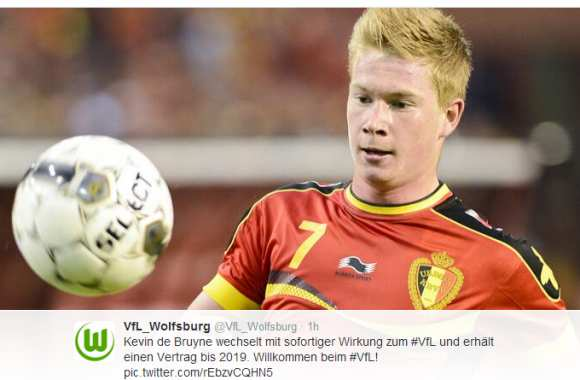 Photo : De Bruyne à Wolfsburg (off.)