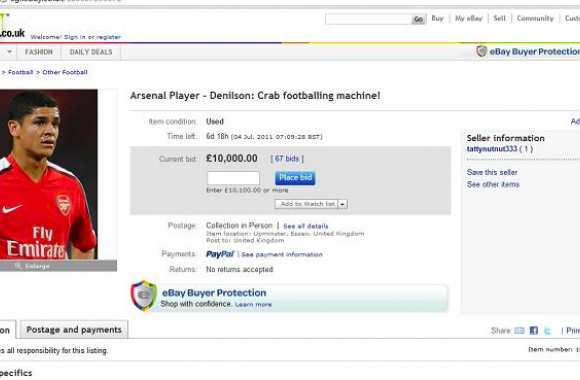 Photo : Denilson en vente sur Ebay