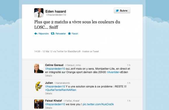 Photo : Eden Hazard tweete son départ