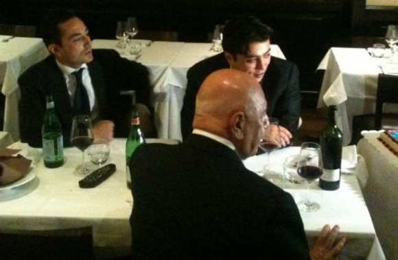 Photo : Galliani et l'agent de Tevez