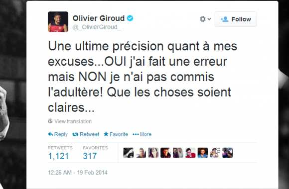 Photo : Giroud nie l'adultère