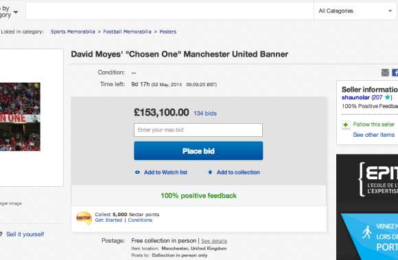 Photo : La bannière « Chosen One » sur eBay