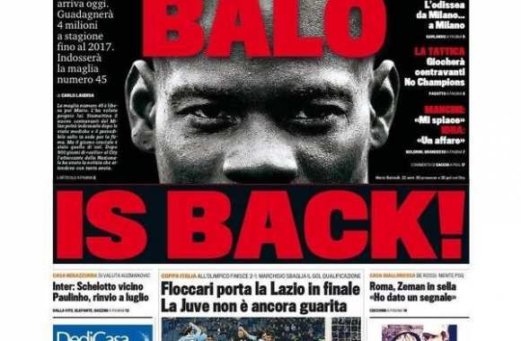 Photo : La Une Balotelli de la Gazzetta