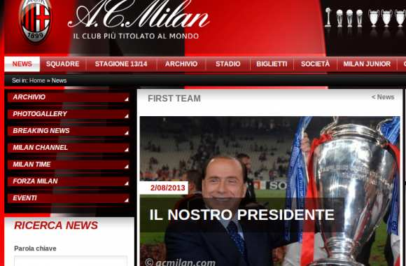 Photo : Le Milan AC soutient Berlusconi