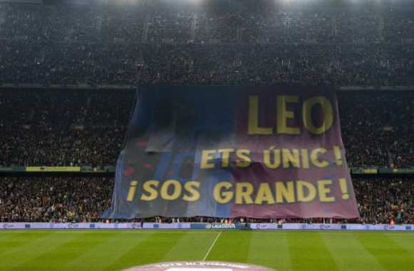 Photo : Le tifo pour Messi