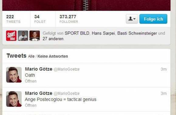 Photo : Le twitter de Götze hacké