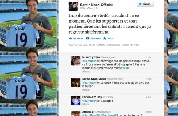 Photo : Nasri s'excuse sur Twitter