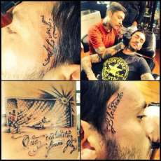 Photo : Pinilla, tatoo et barre transversale