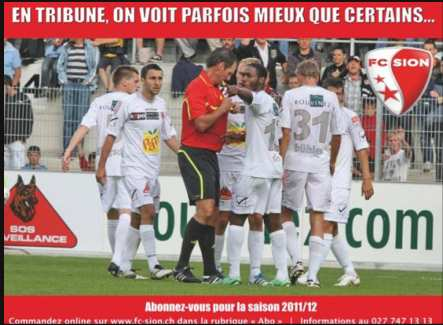 Photo : Sion cible les arbitres