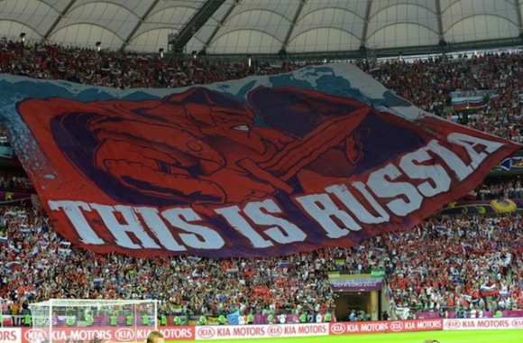 Photo : un tifo russe provoc'