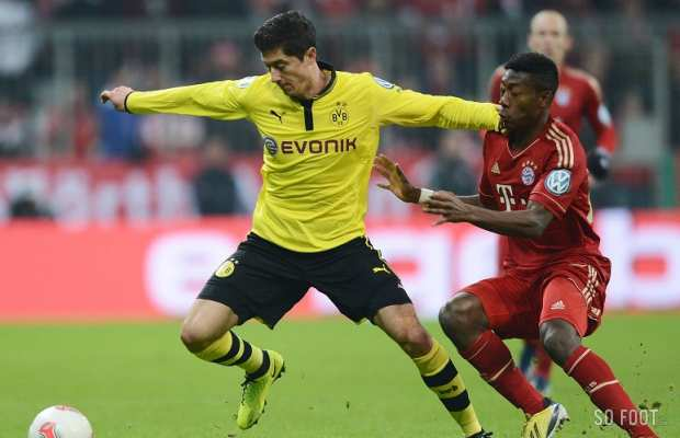 Robert Lewandowski (Borussia Dortmund) face � David Alaba (FC Bayern Munich)