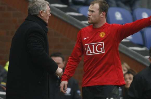 Sir Alex Ferguson avec Wayne Rooney en 2008 (Manchester United)
