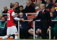 Arsene Wenger et Nicklas Bendtner (Arsenal)